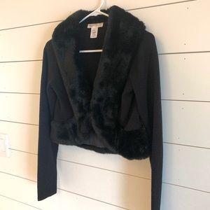 Knit Black Shrug with Faux Fur Collar